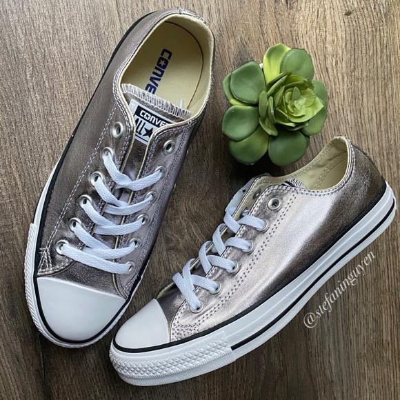 ⬇️ Converse Metallic Gunmetal Silver CTAS Sneakers